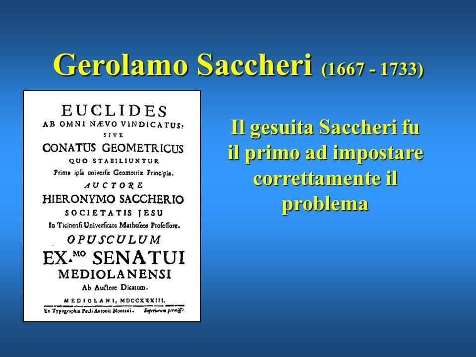 Il gesuita Saccheri fu il primo ad impostare correttamente il problema