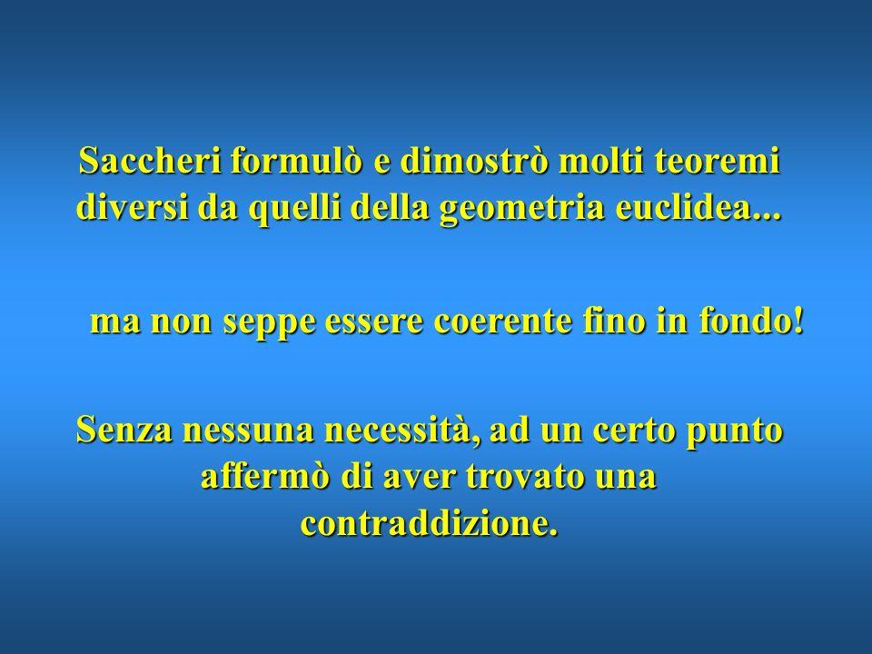 Saccheri formulò e dimostrò molti teoremi diversi da quelli della geometria euclidea...