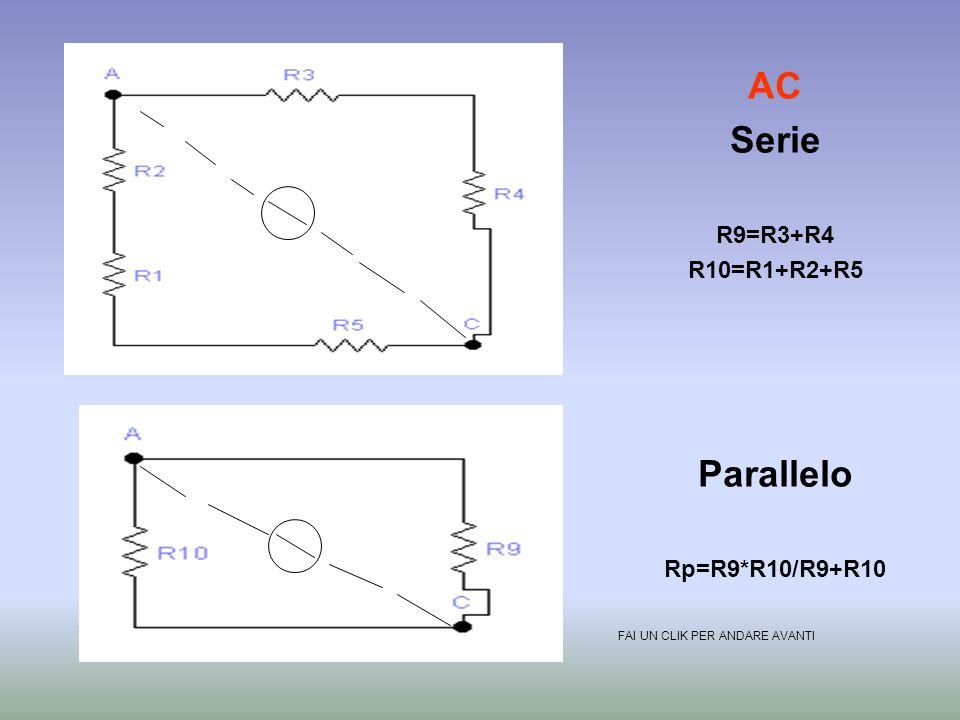 AC Serie Parallelo R9=R3+R4 R10=R1+R2+R5 Rp=R9*R10/R9+R10