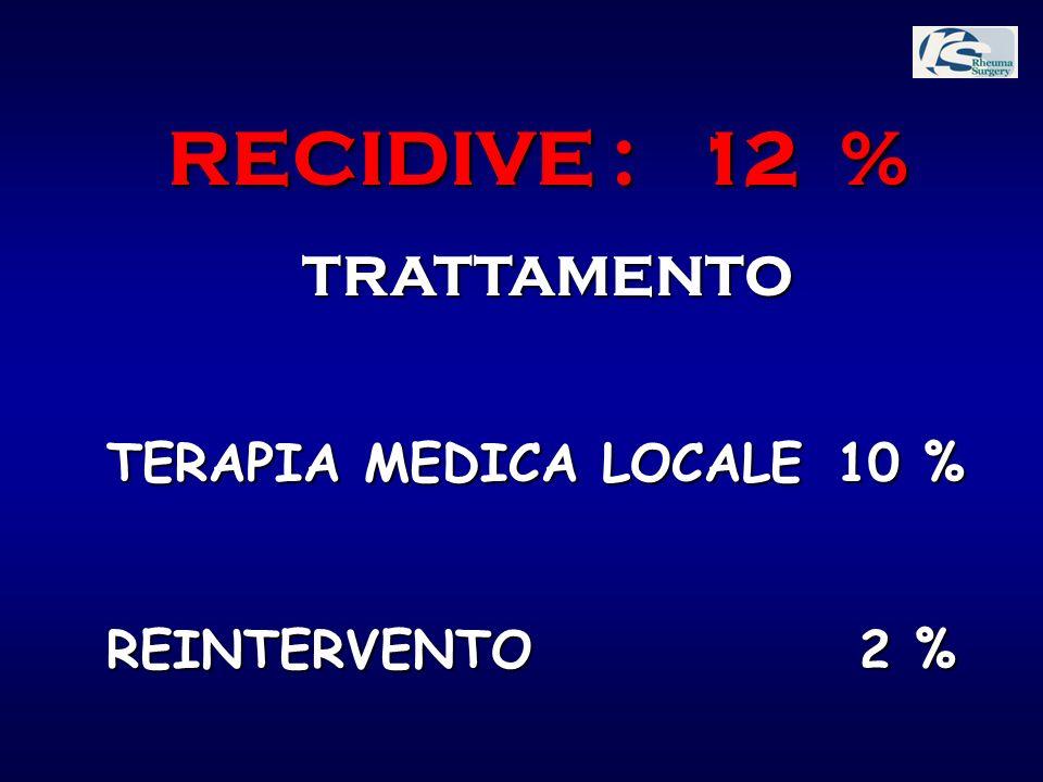 RECIDIVE : 12 % TRATTAMENTO TERAPIA MEDICA LOCALE 10 %