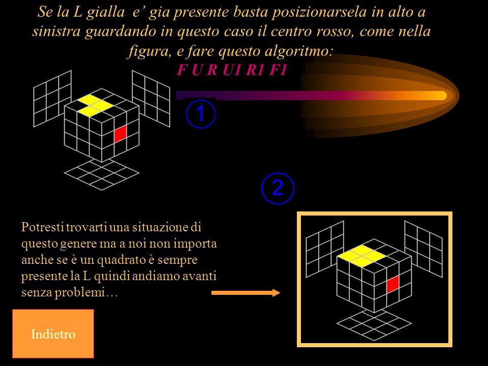 Se la L gialla e' gia presente basta posizionarsela in alto a sinistra guardando in questo caso il centro rosso, come nella figura, e fare questo algoritmo: F U R U1 R1 F1