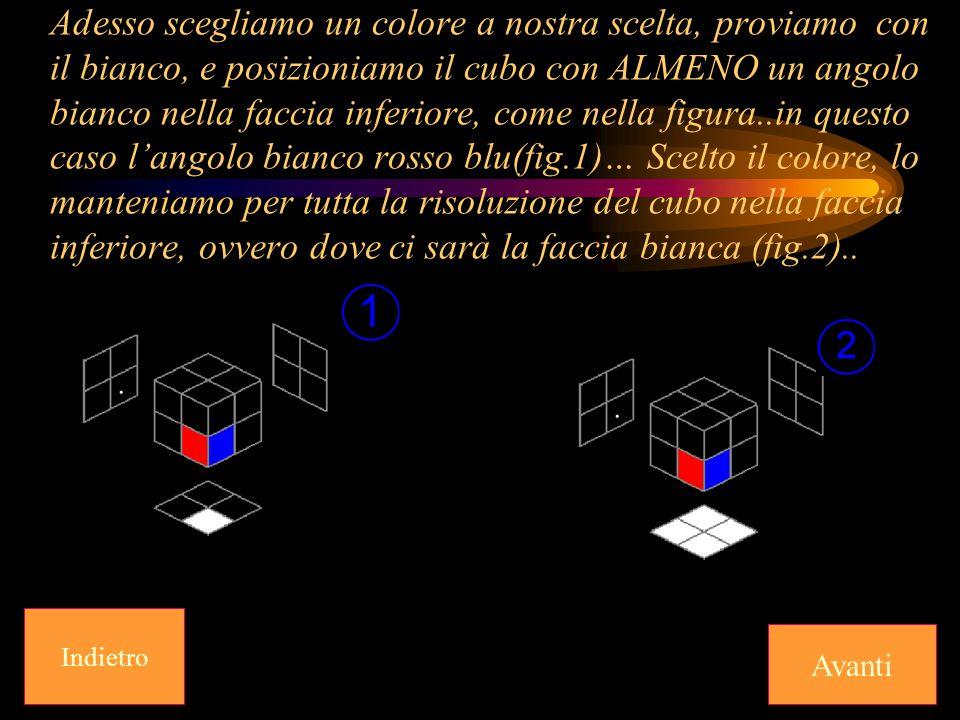 Adesso scegliamo un colore a nostra scelta, proviamo con il bianco, e posizioniamo il cubo con ALMENO un angolo bianco nella faccia inferiore, come nella figura..in questo caso l'angolo bianco rosso blu(fig.1)… Scelto il colore, lo manteniamo per tutta la risoluzione del cubo nella faccia inferiore, ovvero dove ci sarà la faccia bianca (fig.2)..