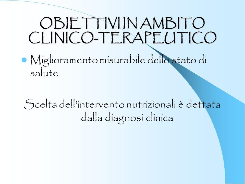 OBIETTIVI IN AMBITO CLINICO-TERAPEUTICO