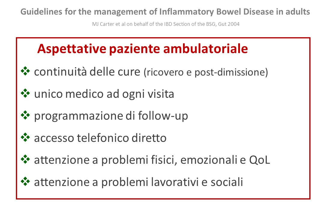 Aspettative paziente ambulatoriale