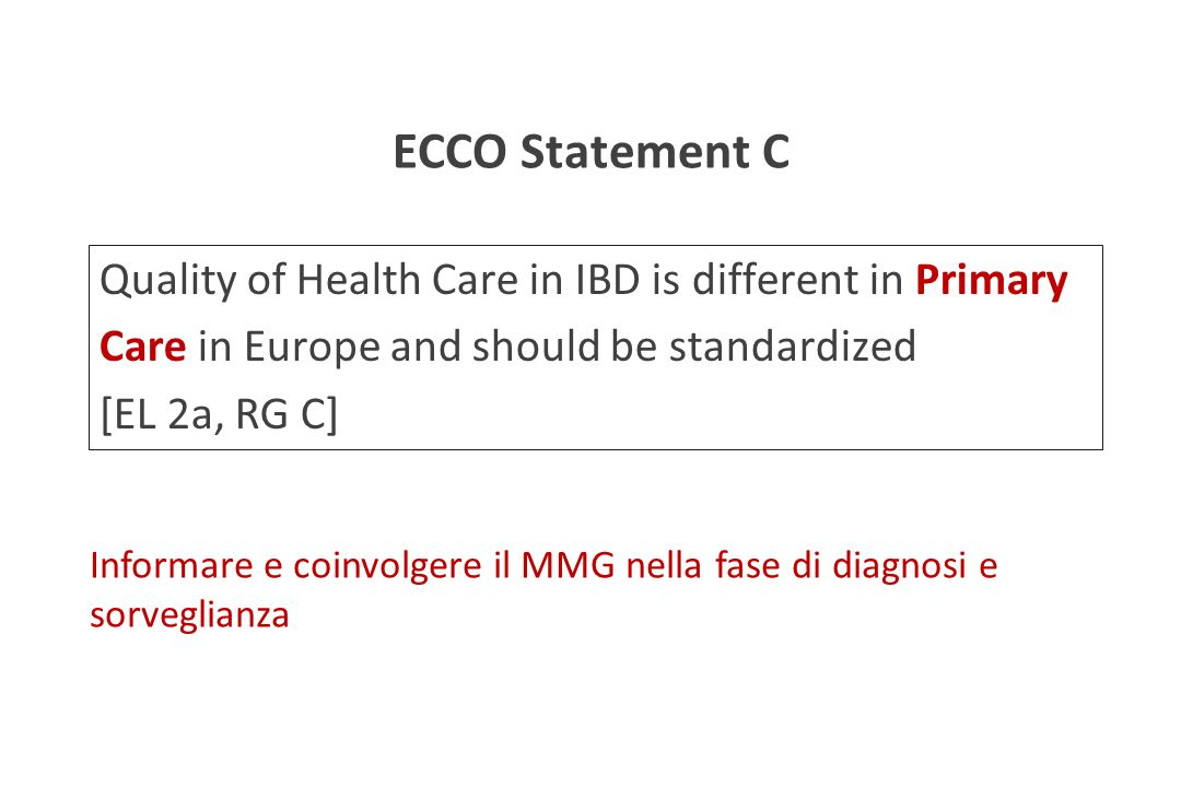 ECCO Statement C Quality of Health Care in IBD is different in Primary