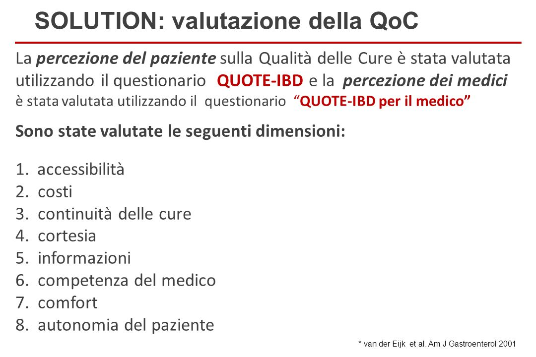 SOLUTION: valutazione della QoC