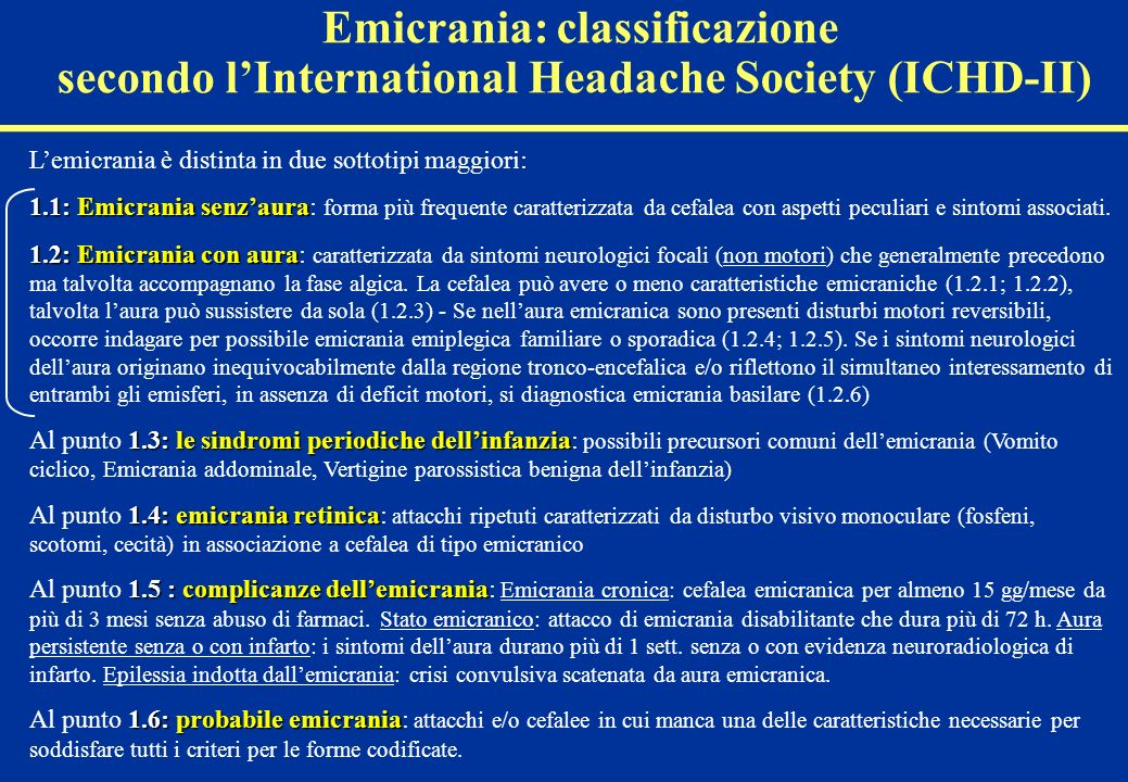 Emicrania: classificazione secondo l'International Headache Society (ICHD-II)
