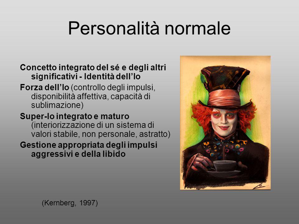 Personalità normale Concetto integrato del sé e degli altri significativi - Identità dell'Io.