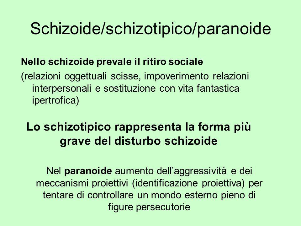 Schizoide/schizotipico/paranoide