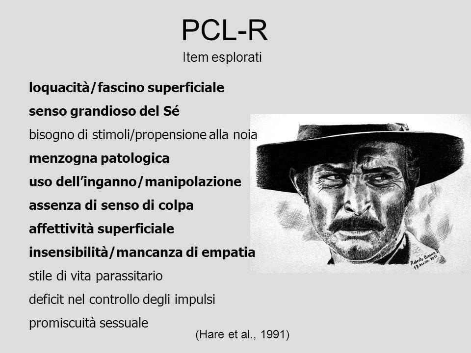 PCL-R Item esplorati loquacità/fascino superficiale