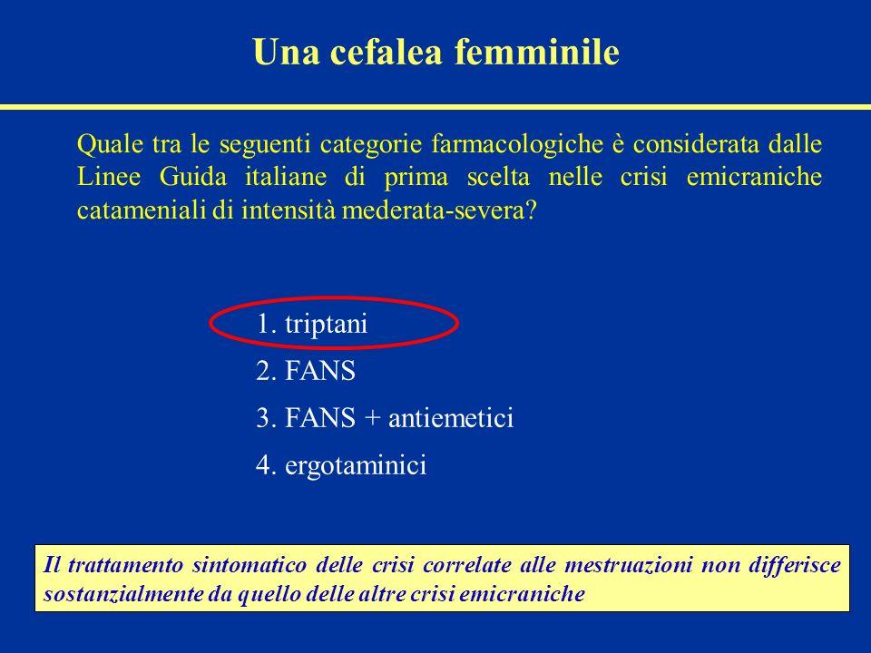 1. triptani 2. FANS 3. FANS + antiemetici 4. ergotaminici