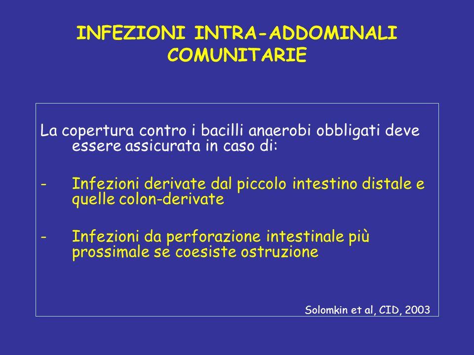 INFEZIONI INTRA-ADDOMINALI COMUNITARIE