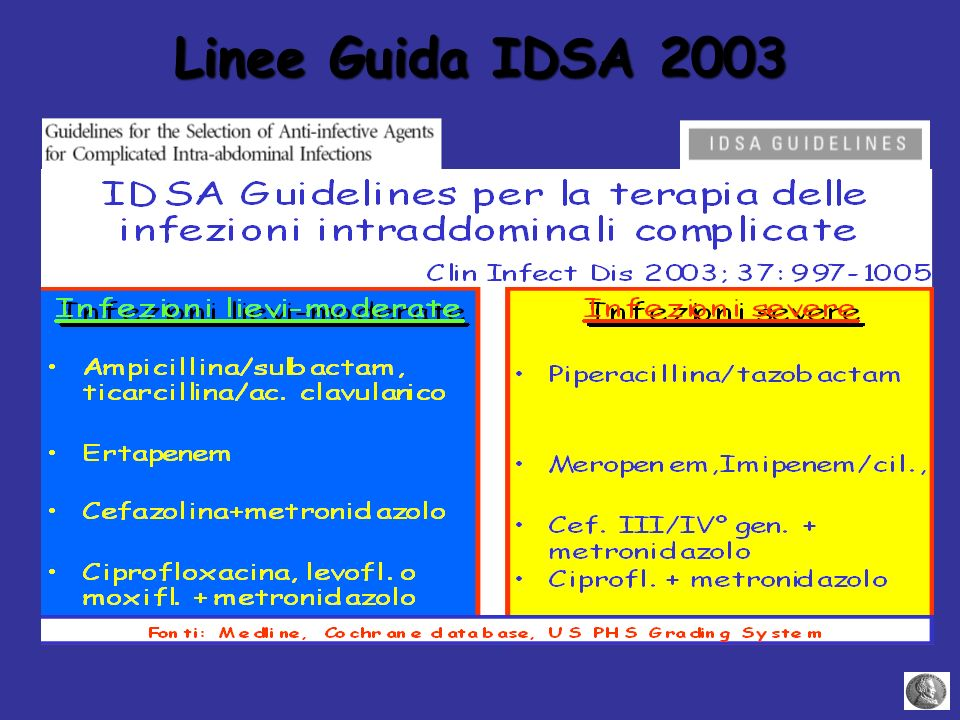 Linee Guida IDSA 2003 Ref 1 Source A (Complete sourcing located on slides 3-57, cannot fit all here.)