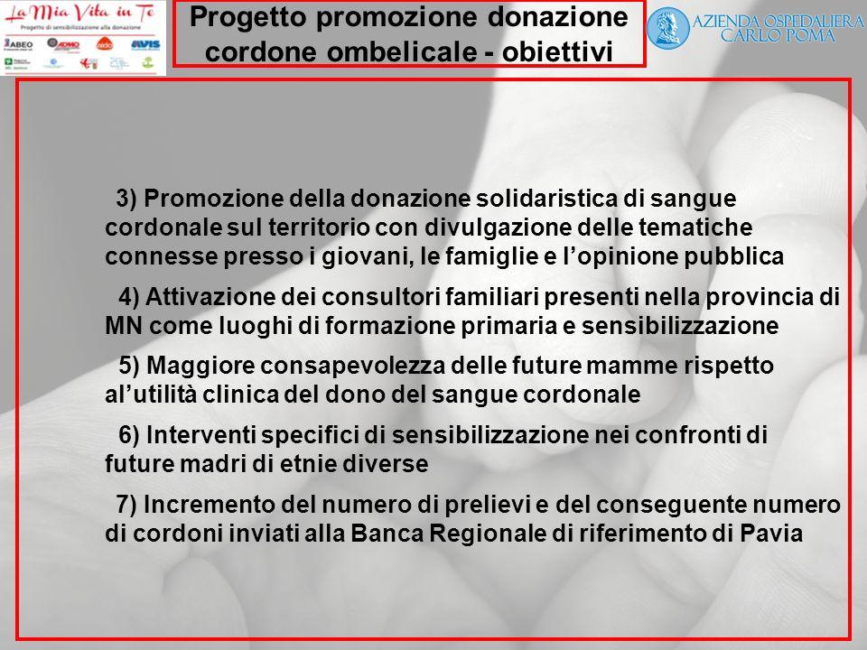 Progetto promozione donazione cordone ombelicale - obiettivi