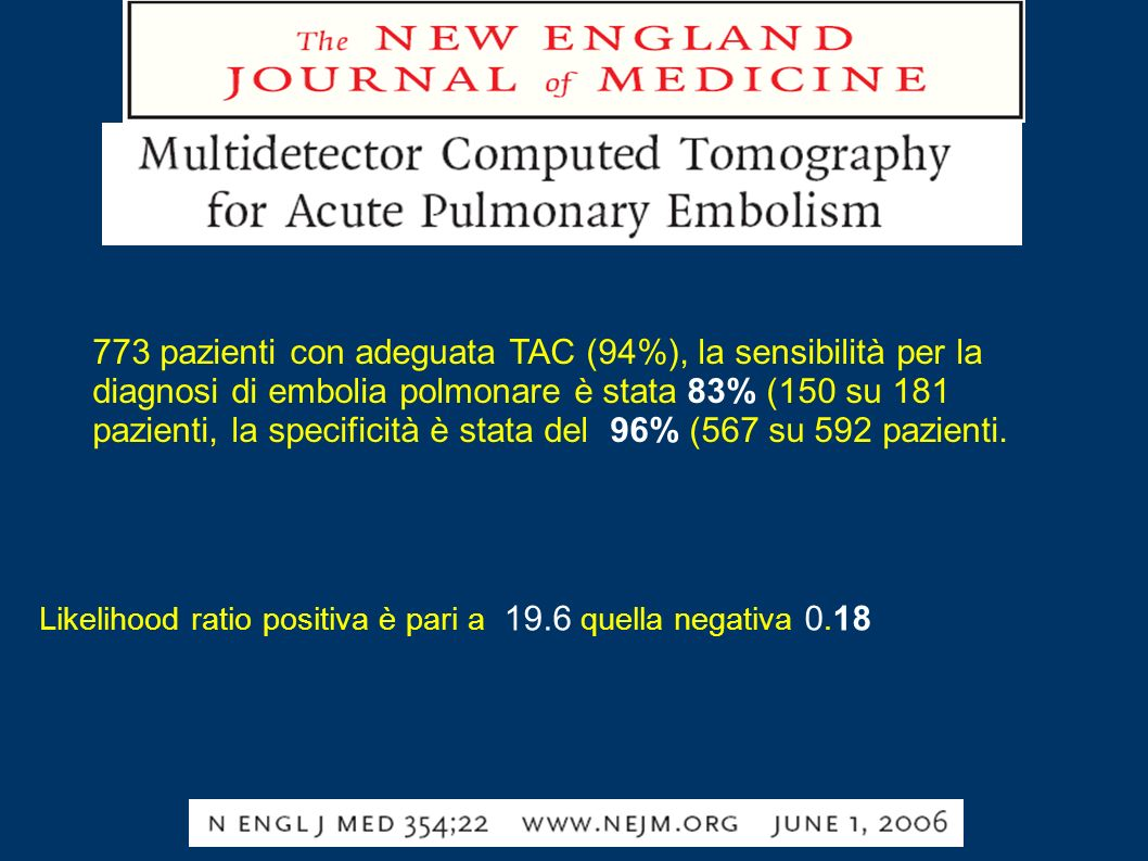 773 pazienti con adeguata TAC (94%), la sensibilità per la diagnosi di embolia polmonare è stata 83% (150 su 181 pazienti, la specificità è stata del 96% (567 su 592 pazienti.