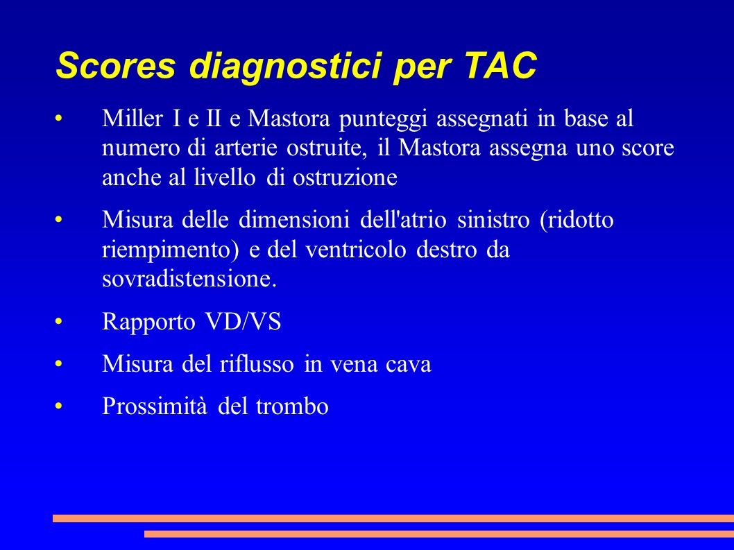 Scores diagnostici per TAC