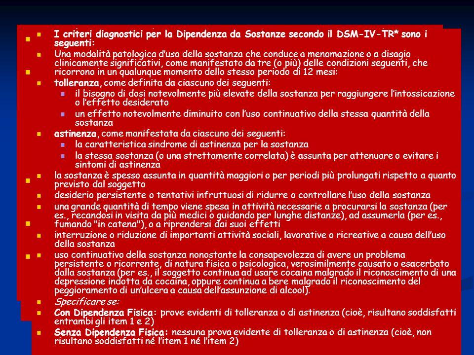 SECONDO IL DSM-IV TR AGITAZIONE PSICOMOTORIA DIPENDENZA