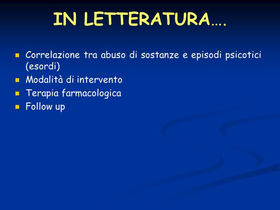 IN LETTERATURA…. Correlazione tra abuso di sostanze e episodi psicotici (esordi) Modalità di intervento.