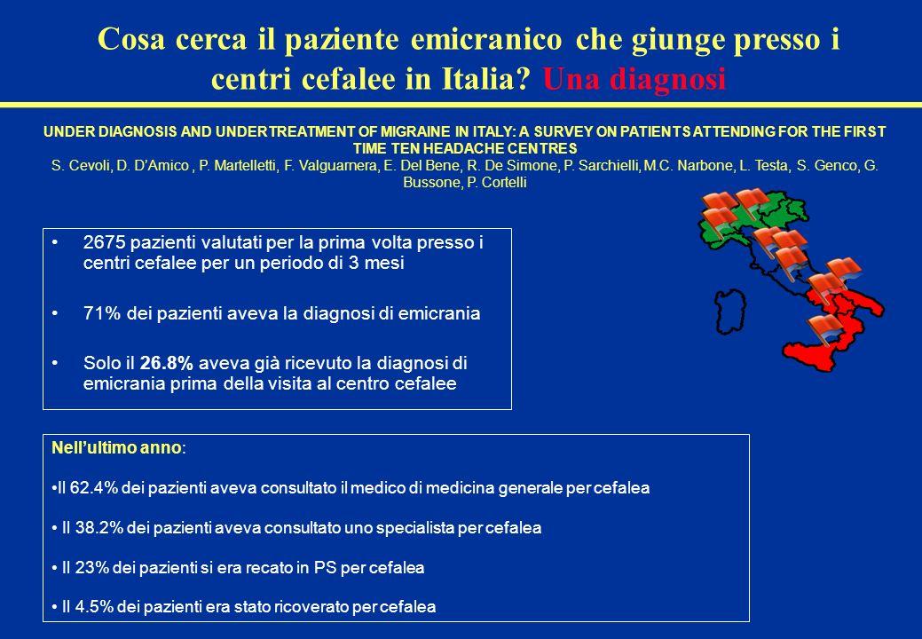 Cosa cerca il paziente emicranico che giunge presso i centri cefalee in Italia Una diagnosi