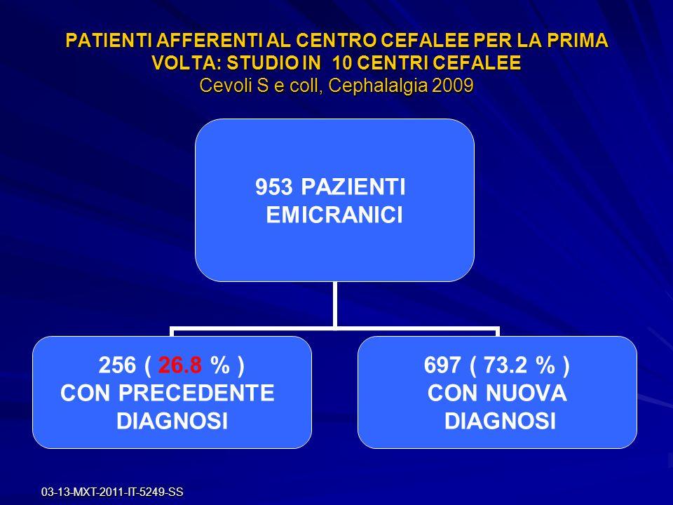 PATIENTI AFFERENTI AL CENTRO CEFALEE PER LA PRIMA VOLTA: STUDIO IN 10 CENTRI CEFALEE Cevoli S e coll, Cephalalgia 2009