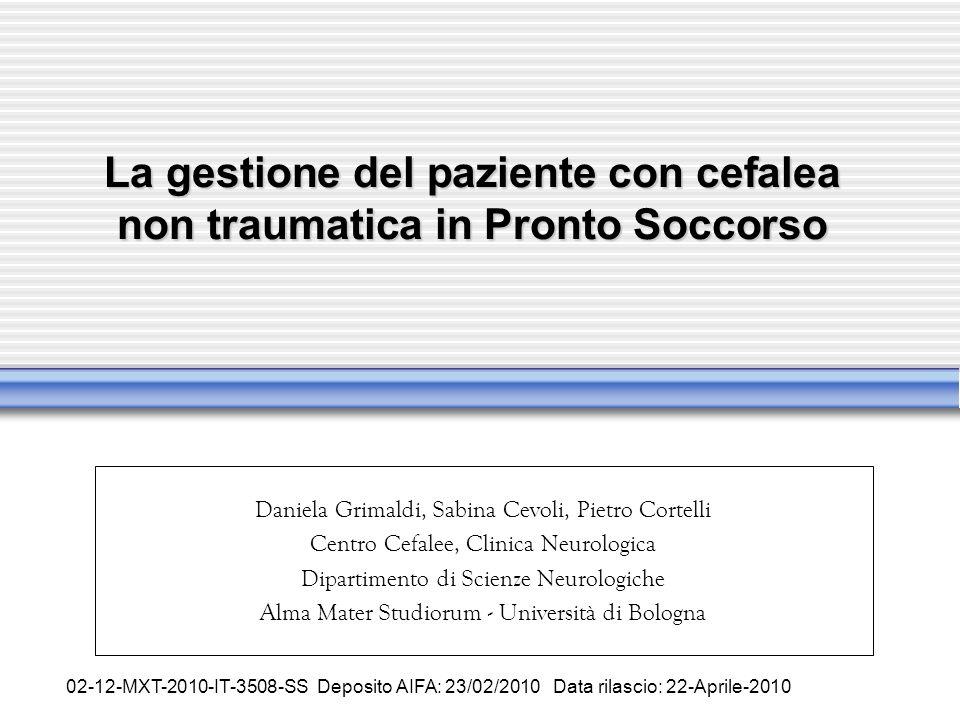 La gestione del paziente con cefalea non traumatica in Pronto Soccorso