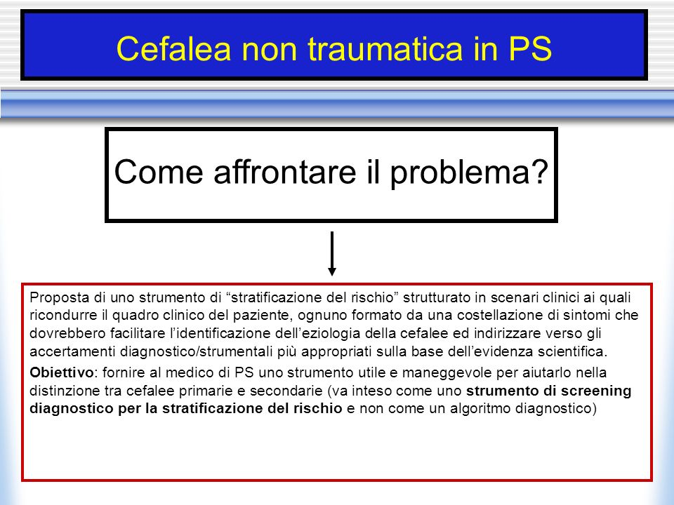Cefalea non traumatica in PS