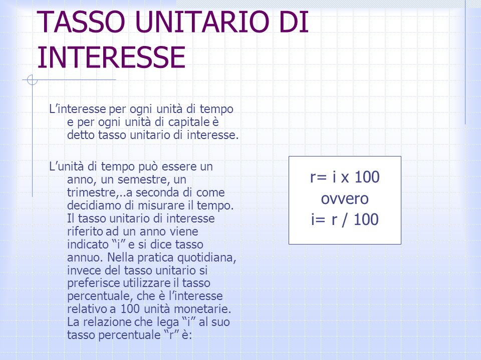 TASSO UNITARIO DI INTERESSE
