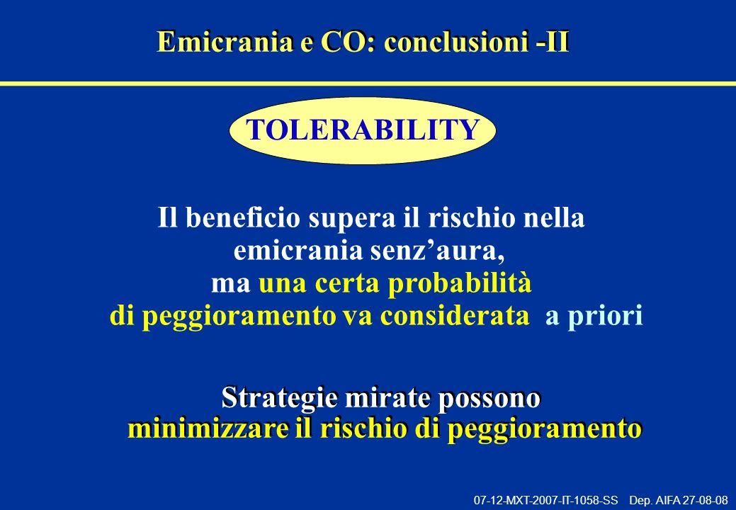 Emicrania e CO: conclusioni -II