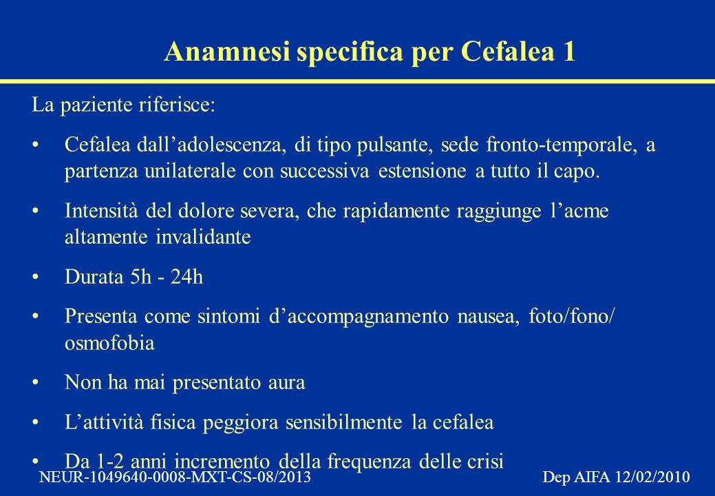 Anamnesi specifica per Cefalea 1