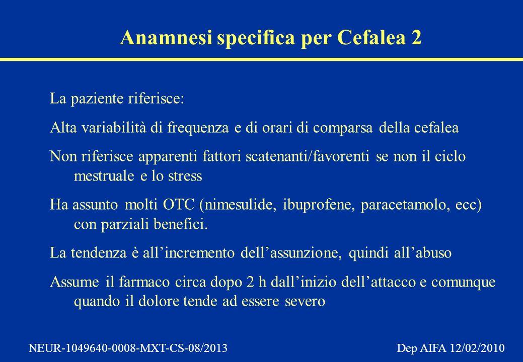 Anamnesi specifica per Cefalea 2