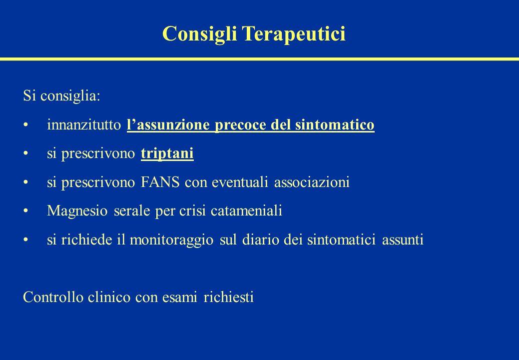 Consigli Terapeutici Si consiglia:
