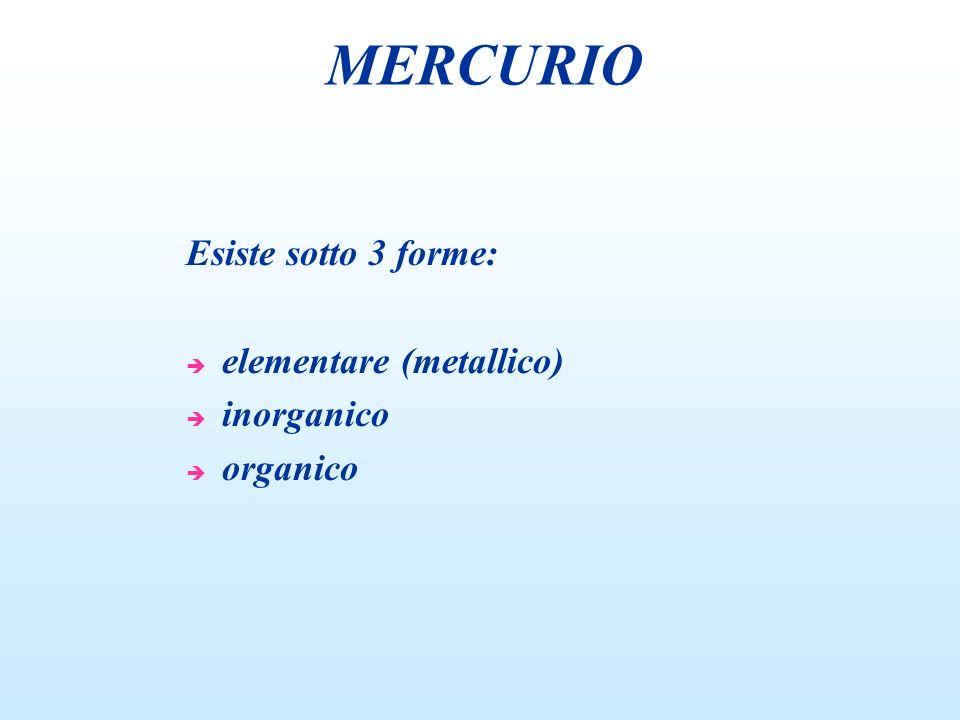 MERCURIO Esiste sotto 3 forme: elementare (metallico) inorganico