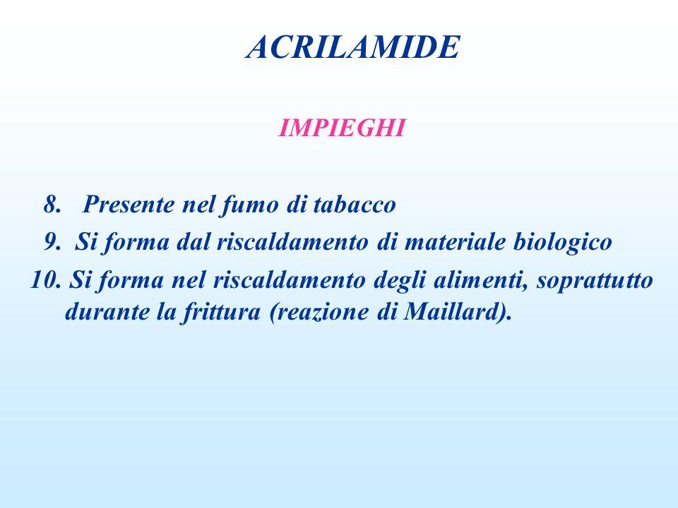 ACRILAMIDE IMPIEGHI 8. Presente nel fumo di tabacco