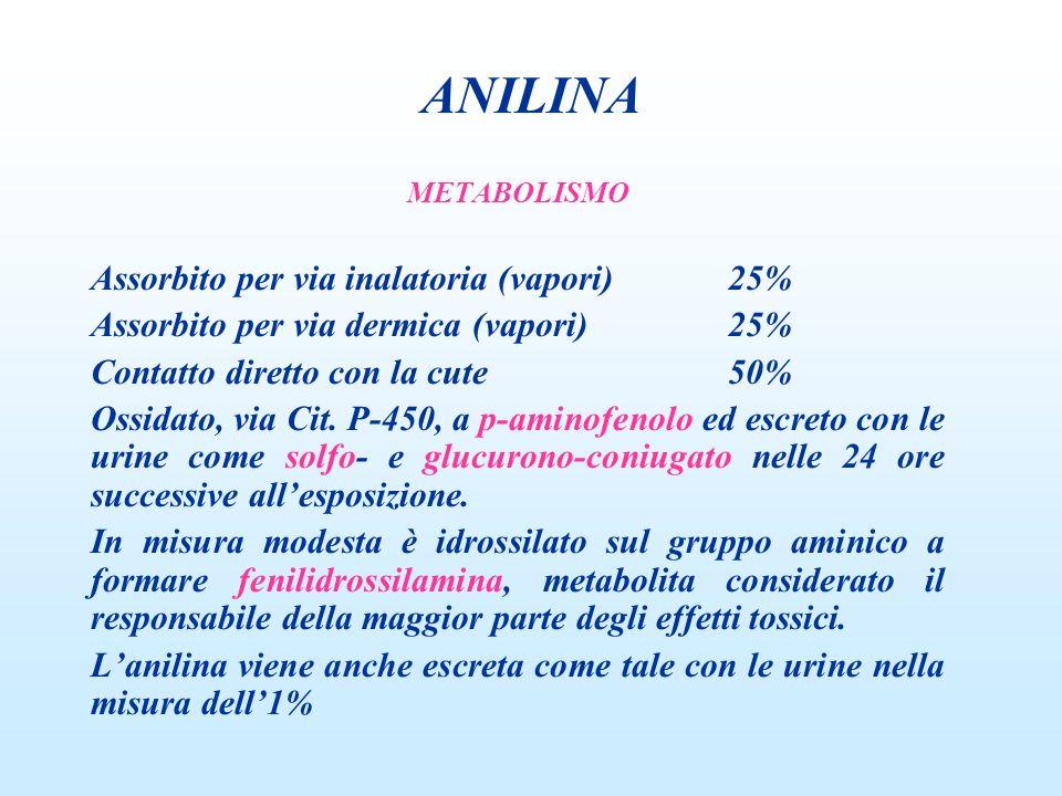 ANILINA Assorbito per via inalatoria (vapori) 25%