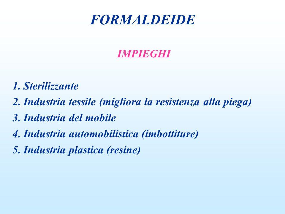 FORMALDEIDE IMPIEGHI 1. Sterilizzante