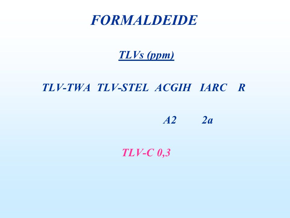 FORMALDEIDE TLVs (ppm) TLV-TWA TLV-STEL ACGIH IARC R A2 2a TLV-C 0,3