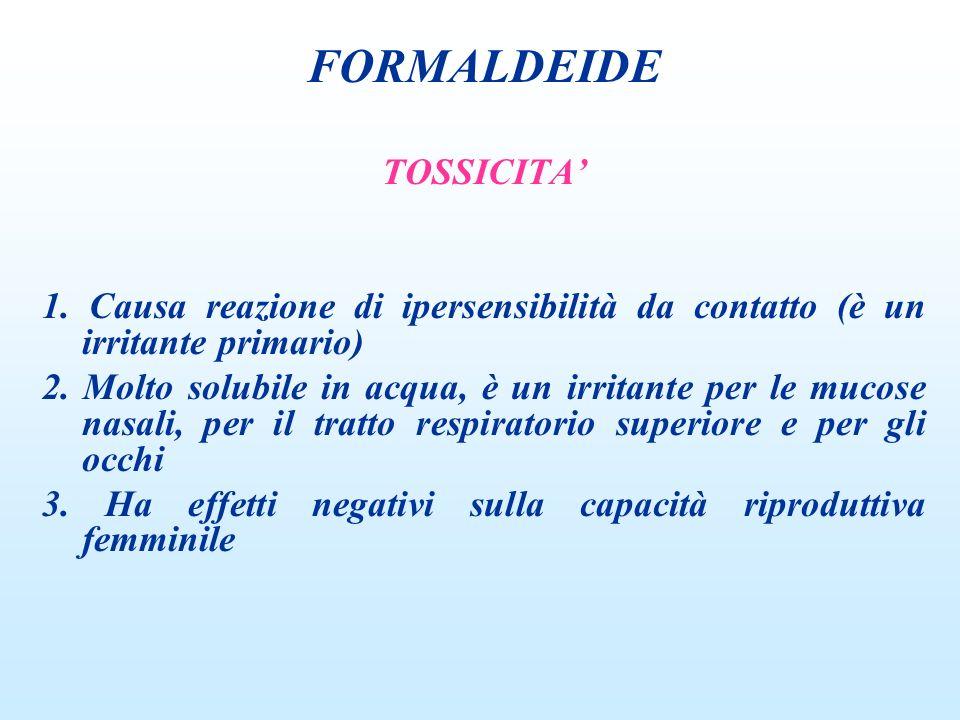 FORMALDEIDE TOSSICITA'