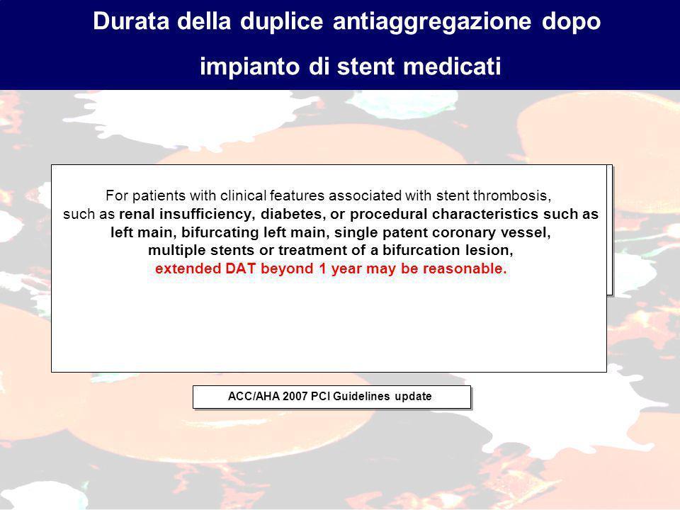 Durata della duplice antiaggregazione dopo impianto di stent medicati