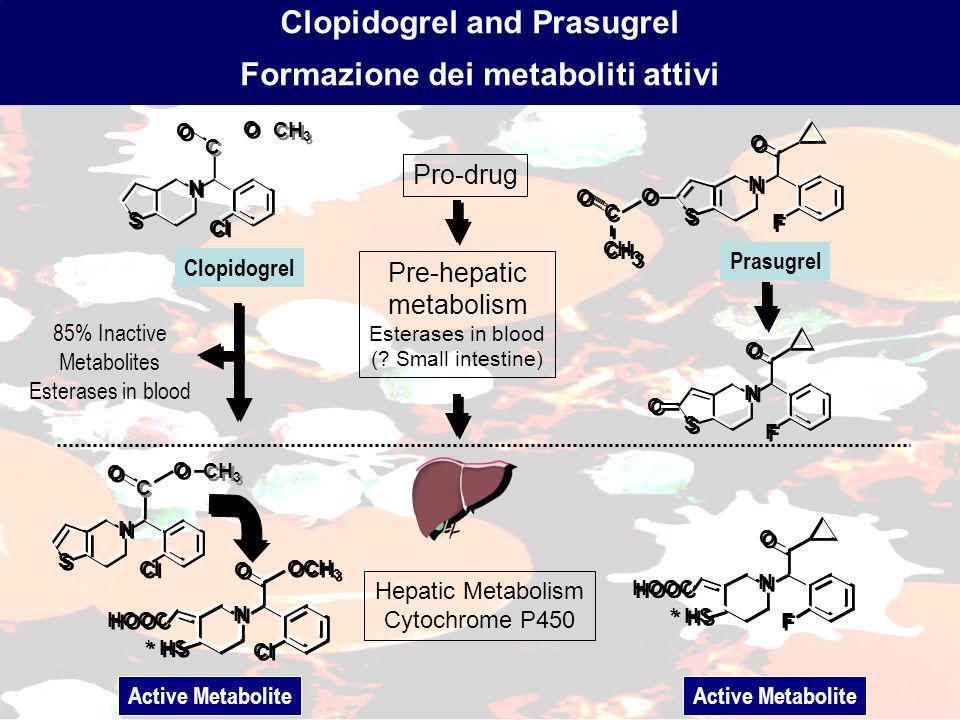 Clopidogrel and Prasugrel Formazione dei metaboliti attivi