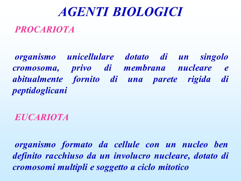 AGENTI BIOLOGICI PROCARIOTA
