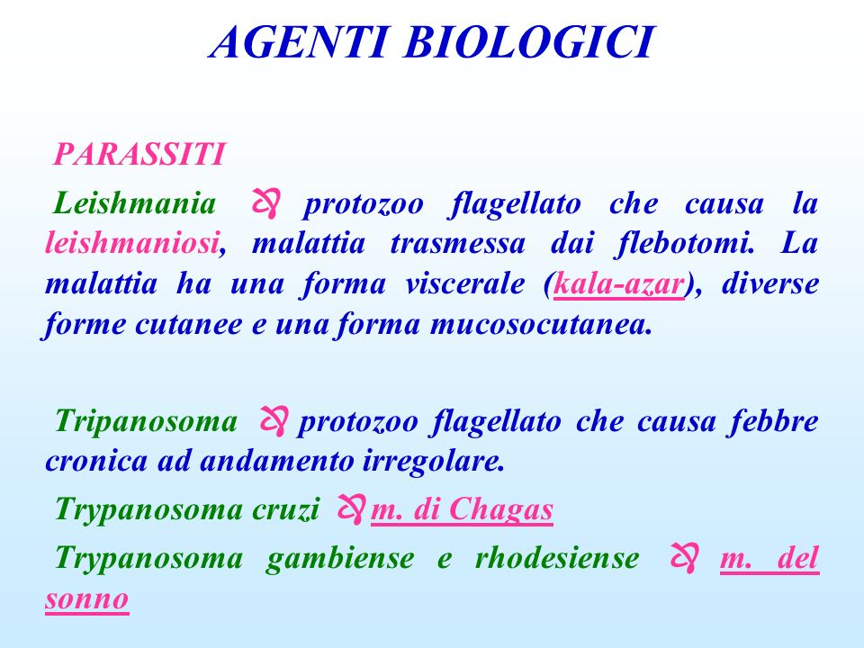 AGENTI BIOLOGICI PARASSITI