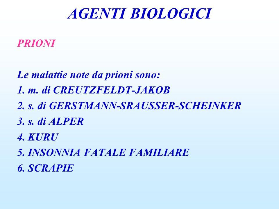 AGENTI BIOLOGICI PRIONI Le malattie note da prioni sono: