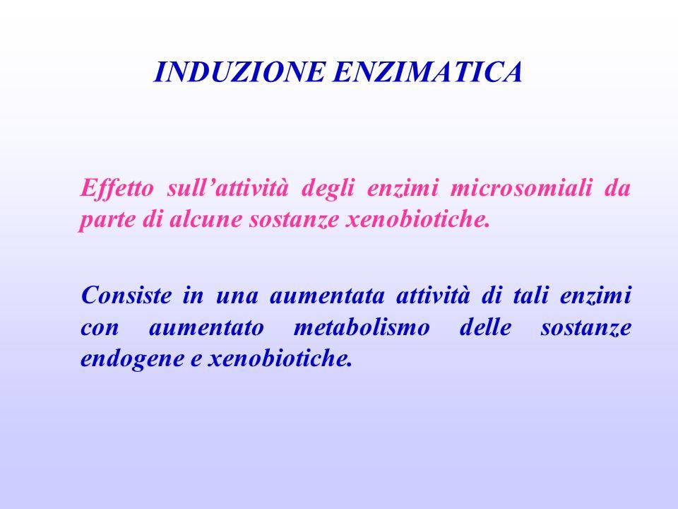 INDUZIONE ENZIMATICA Effetto sull'attività degli enzimi microsomiali da parte di alcune sostanze xenobiotiche.