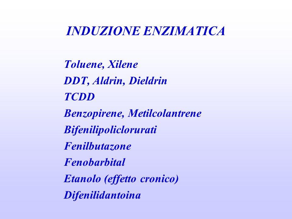INDUZIONE ENZIMATICA Toluene, Xilene DDT, Aldrin, Dieldrin TCDD