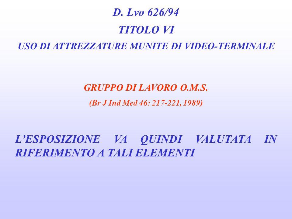 USO DI ATTREZZATURE MUNITE DI VIDEO-TERMINALE