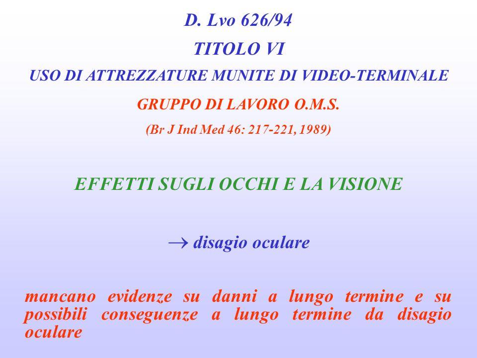 D. Lvo 626/94 TITOLO VI EFFETTI SUGLI OCCHI E LA VISIONE