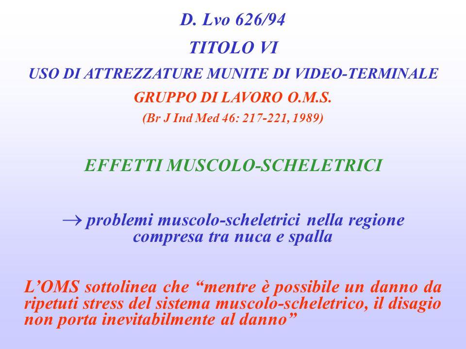 D. Lvo 626/94 TITOLO VI EFFETTI MUSCOLO-SCHELETRICI
