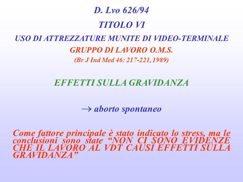 USO DI ATTREZZATURE MUNITE DI VIDEO-TERMINALE EFFETTI SULLA GRAVIDANZA