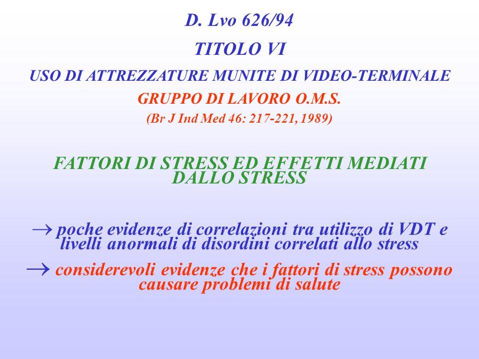 FATTORI DI STRESS ED EFFETTI MEDIATI DALLO STRESS