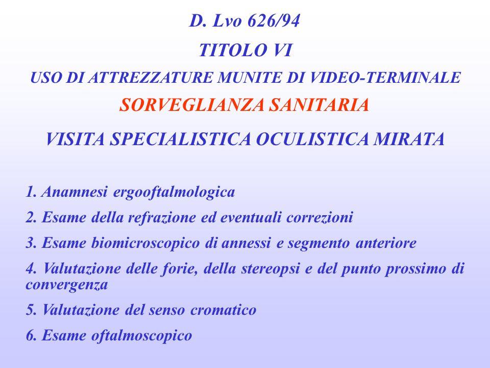 SORVEGLIANZA SANITARIA VISITA SPECIALISTICA OCULISTICA MIRATA